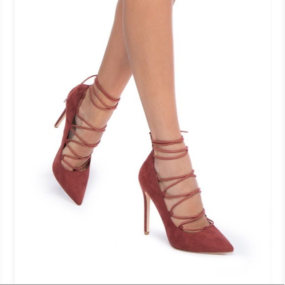 cdbf439d3 Shoe Dazzle Shoes   Rust Suede Lace Up Heels   Poshmark